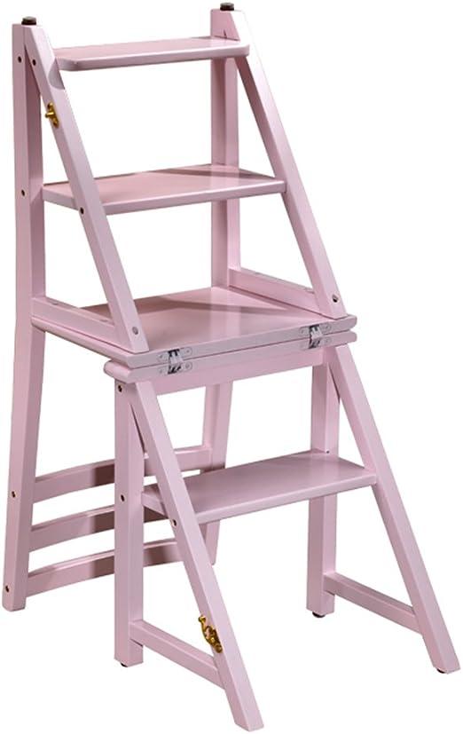 Taburetes escalera Taburete, plegables portátiles asciende la escalera de plegables plegables sillas jardín al aire libre de madera maciza marco de flores sala de estar interior zapatero, teniendo alr: Amazon.es: Hogar