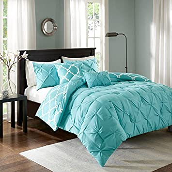 Review Madison Park Essentials Kasey King/Cal King Size Bed Comforter Set - Aqua, Reversible Tufted, Ogee Fretwork – 5 Pieces Bedding Sets – Ultra Soft Microfiber Bedroom Comforters