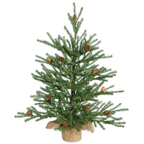 (Vickerman Carmel Pine Tree with Pine Cones & 294 PVC Tips In Burlap Base, 18