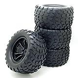 4x RC 1/10 Scale Car Monster Truck Type Tires Gravel w/ 5 Spokes Wheel Rim Black RC Parts