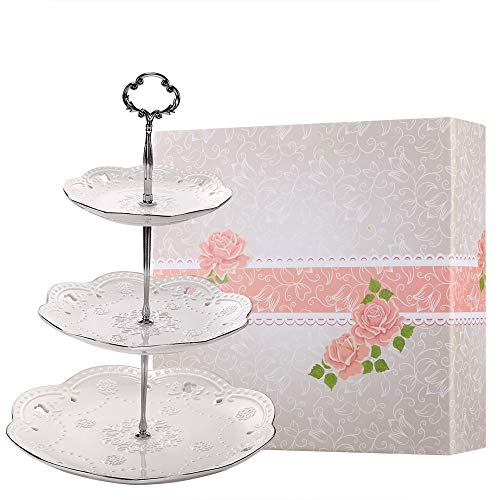 (BonNoces 3-Tier Porcelain Embossed Cupcake Stand - Pure White Rimmed with Silver Dessert Cake Stand - Pastry Serving Tray Platter for Tea Party, Wedding and Birthday)
