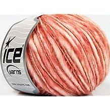 Lot of 8 Skeins Ice Yarns FJORD WOOL SPRAY (50% Wool) Hand Knitting Yarn Salmon