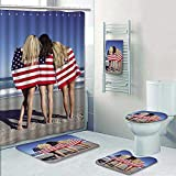 Philip-home 5 Piece Banded Shower Curtain Set Three Beautiful Young Women Wearing Bikinis and Wrapped in American Flags on a sunnybeach Pattern Printing Suit