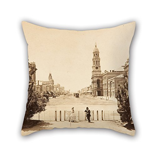 Oil Painting Samuel Sweet - King William Street Adelaide, Looking North From Victoria Square Pillowcover 16 X 16 Inch / 40 By 40 Cm For Kids Boys,kids Girls,outdoor,wife,divan,lover With Double - Girls Adelaide Asian