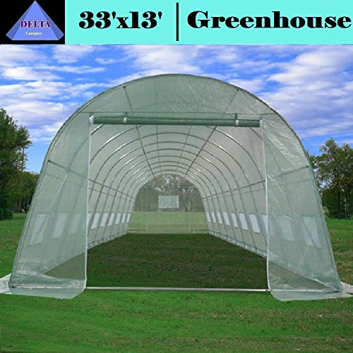 Greenhouse 33'x13'x7.5′ – Large Heavy Duty Green House Walk in Hothouse 185 Pounds By DELTA Canopies
