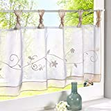 Hoomall Half Curtain Window Valance Sheer Voile for Cafe Kitchen Polyester Sand 60cmx120cm 1 Panel