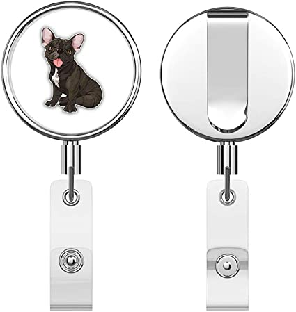Frenchie French Dog Decorated Retractable Badge Reel ID Holder with Clip Backing