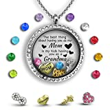 Grandma Necklace | Mother Daughter Necklace for Mom | Grandma Jewelry Floating Charm Locket Mothers...