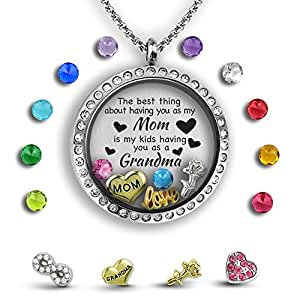 Grandma Necklace | Mother Daughter Necklace for Mom | Grandma Jewelry Floating Charm Locket Mothers Necklace | Great Grandma Gifts & Godmother Gifts | Mothers Necklace New Grandma Gifts Memory Locket