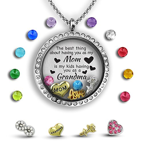 Unique for Grandma Necklace, Perfect Gift for Mom Necklace, Floating Charm Locket Necklace Gifts for Mom | Stainless Steel 30mm Authentic Floating Charm Locket | Memory Locket Complete with Charms (Unique Necklaces)