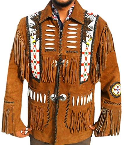 Classyak Western Suede Leather Jacket Tan Brown, Fringed Bones & Beads, Xs-5xl (X-Large)