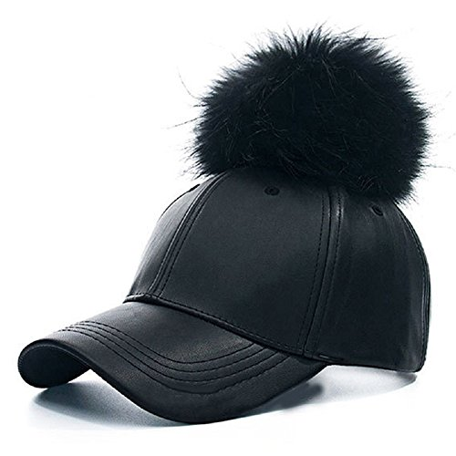 Faux Leather Baseball Caps with Real Fur Pom Pom Outdoor Sports Adjustable Hats (Black 2)