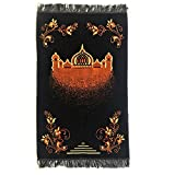 Turkish Islamic Prayer Rug Plush Velvet Janamaz Prayer Mat - Taj Mahal Design Black