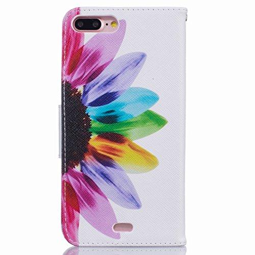 Custodia Apple iPhone 7 Pro Cover Case, Ougger Rainbow Fiore Portafoglio PU Pelle Magnetico Stand Morbido Silicone Flip Bumper Protettivo Gomma Shell Borsa Custodie con Slot per Schede