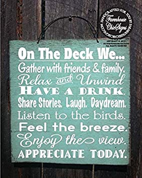 Funlaugh Deck Rules Deck Sign Patio Decor Patio Sign Deck Decor Outdoor Living Deck Sign Deck Decoration Bedroom Wood Sign with Sayings Home Decor ...