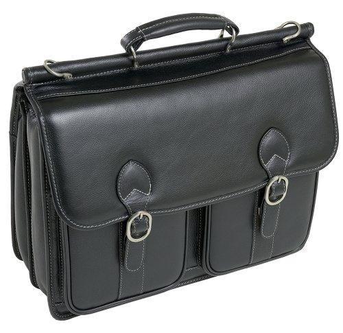 - McKleinUSA Hazel Crest 15605 Black Leather Double Compartment Laptop Case