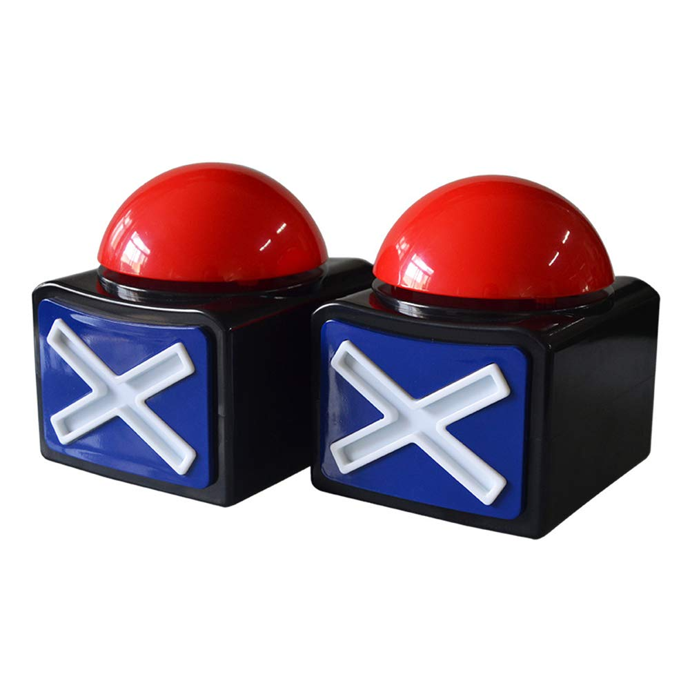 2Pcs Game Answer Buzzer Alarm Button Box with Sound Light Party Contest Prop Toy, Trivia Quiz Got Talent Buzzer for Kids Adult