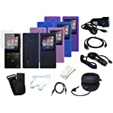 13 Item Bundle: Black Car Wall Charger + Cable + Black Mini Speaker + AUX Cable + Earbuds + 4 Color Soft Skin Case + Screen Protector + Armband + Belt Clip for Sony Walkman NW-E393 / NW-E394 / NW-E395