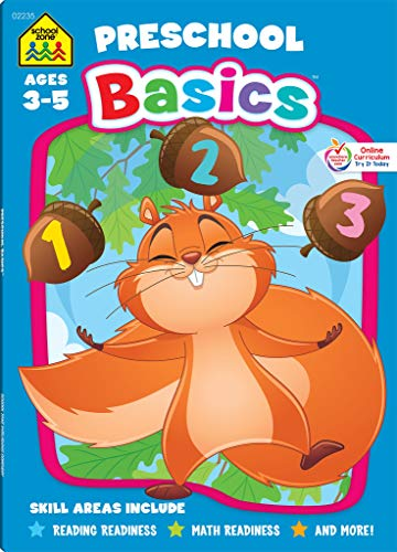 School Zone - Preschool Basics Deluxe Edition Workbook, Ages 3 to 5, Colors, Numbers, Counting, Matching, Matching, Classifying, Beginning Sounds, and More
