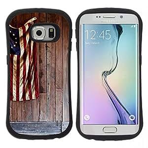 "Hypernova Slim Fit Dual Barniz Protector Caso Case Funda Para Samsung Galaxy S6 EDGE [Bandera patriótica azul blanca roja""]"