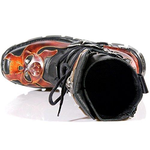 Newrock Nieuwe Rock M.107-s1 Rode Schedel Teufel Zwart Leder Boot Biker Goth Rots Stiefel