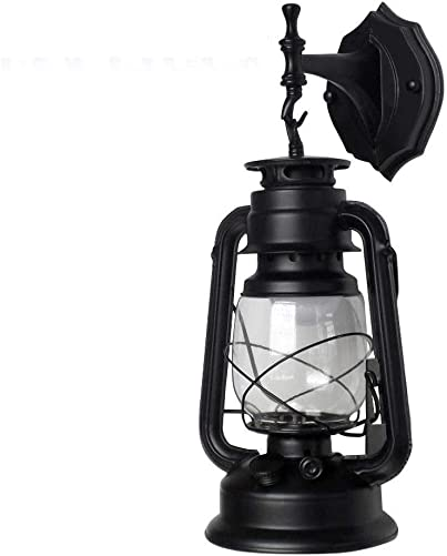 Design Outdoor Wall Light, Retro barn Lantern Wall lamp Light Antique Kerosene Iron Glass lampshade Wall lamp Outdoor lamp – Bulb Type E27 Bulb