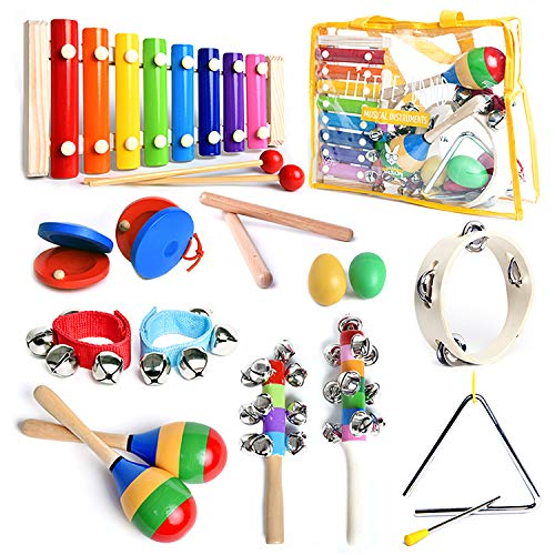 Classic Old School Percussion Set with Big Size Sturdy Wooden Instruments. Excellent Quality Eco-Friendly Musical instrument set for Toddlers & Kids' Music Class or Home Fun Quality Time.