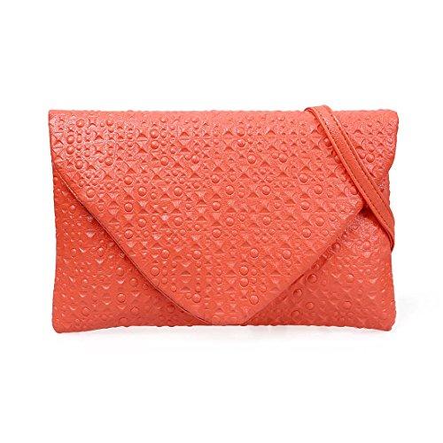 Bmc Unico Pelle Mandarino Style Clutch Circle Square Fashion Studded Simil Arancione Busta AqqWOcHR