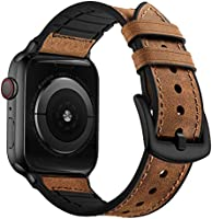 OUHENG Compatible with Apple Watch Band 38mm 42mm 40mm 44mm, Sweatproof Genuine Leather and Rubber Hybrid Band Strap...