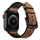 OUHENG Compatible with Apple Watch Band 42mm 44mm, Sweatproof Genuine Leather and Rubber Hybrid Band Strap Compatible with iWatch Series 4 44mm Series 3 Series 2 Series 1 42mm Sport Edition, Brown