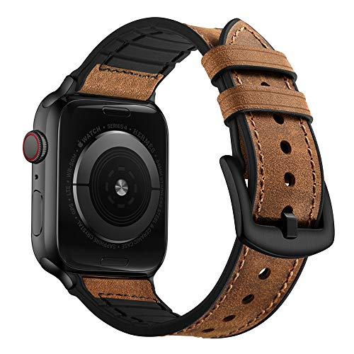 (OUHENG Compatible with Apple Watch Band 42mm 44mm, Sweatproof Genuine Leather and Rubber Hybrid Band Strap Compatible with iWatch Series 4 Series 3 Series 2 Series 1 Sport Edition, Brown)