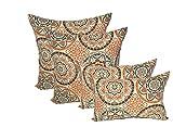 Set of 4 Indoor / Outdoor Pillows - 17'' Square Throw Pillows & Rectangle / Lumbar Decorative Throw Pillows - Wheel Poppy - Orange, Brown, Ivory, Grey Large Sundial