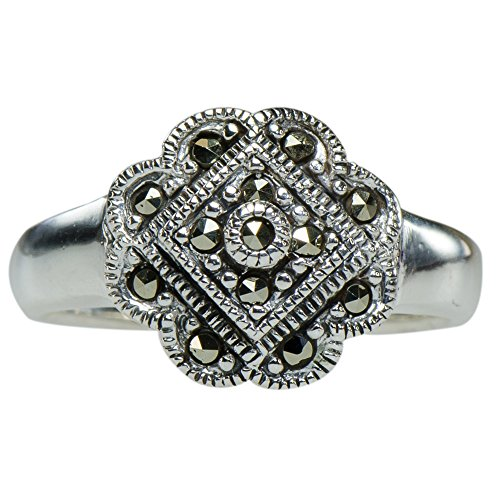 ower Floral Ring 925 Silver (Cabochon Marcasite Ring)