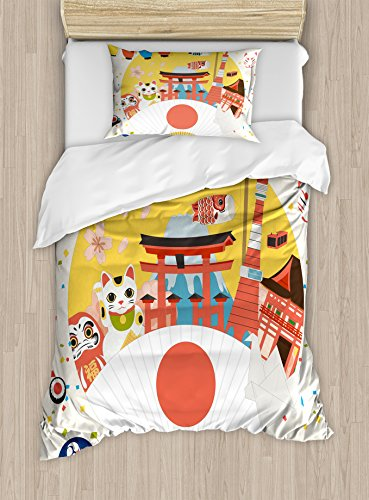 Lantern Duvet Cover Set Twin Size by Ambesonne, Japanese Inspired Commercial Pattern Various Asian Culture Items Cool Cat Origami, Decorative 2 Piece Bedding Set with 1 Pillow Sham, Multicolor