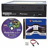 Pioneer BDR-211UBK Internal Ultra HD 4K Blu-ray BDXL Burner with 100GB Verbatim M-Disc BDXL,Cyberlink & Cable