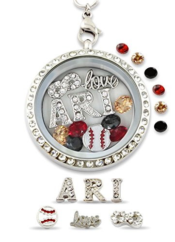 """Infinity Love Arizona"" Pro Baseball Floating Charm Living Memory Locket Magnetic Closure 30mm Stainless Steel Pendant Necklace"