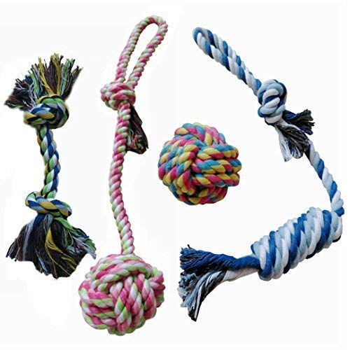 DearyHome Dog Rope Toys for Aggressive Chewers Puppy Chew Tug Toys for Teething Cleaning Ropes Toys for Small, Medium Chewer, Set of 4 (Tug Toy Rope)