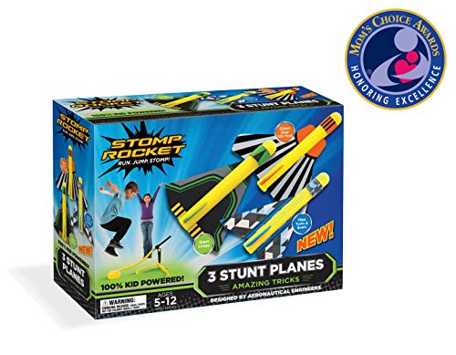 Stomp Rocket Stunt Planes - 3 Foam Plane Toys for Boys and Girls - Outdoor Rocket Toy Gift for Ages 5 (6, 7, 8) and Up (Top Rated Toys For 7 Year Old Boy)