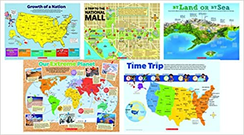 Map skills poster set scholastic 9781338046304 amazon books gumiabroncs Images