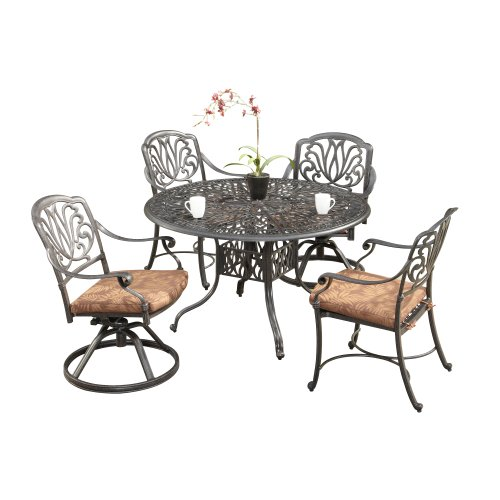 Home Styles Floral Blossom 5-Piece Dining Table, Charcoal