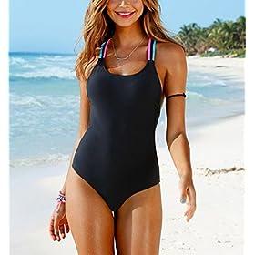 - 51Z1X9mrTfL - BSGSH Women's Strappy Tummy Control Monokini One Piece Swimsuit Retro Bathing Suit
