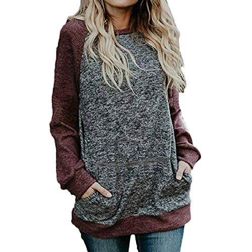 Misaky Women's Blouse Winter Casual Stitching Pocket Long Sleeve Flowy Tunic Shirt Tops (Wine, Large)