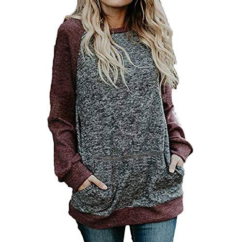 Misaky Women's Blouse Winter Casual Stitching Pocket Long Sleeve Flowy Tunic Shirt Tops (Wine, -