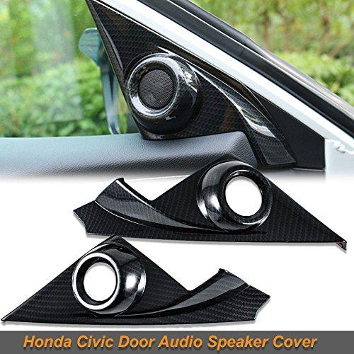 Pillar Cover Set - Xotic Tech Carbon Fiber Pattern Door Audio Speaker Covers for Honda Civic 10th 2016-17