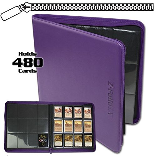 BCW Z-Folio LX Zipper Portfolio Purple 12 Pocket Playset Album by 12-Pocket Z-Folio