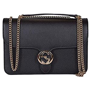 Gucci Women's Black Leather 510304 Interlocking GG Crossbody Purse Handbag New