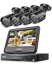 Sannce 4CH 720P Security Camera System, 1TB HDD+ 10.1-inch LCD Screen Monitor Build-in, w/ 4 1.0MP Outdoor CCTV Cameras System, Hi-Resolution, All-in-one Hybrid HVR NVR DVR, Plug n Play, Email Alert