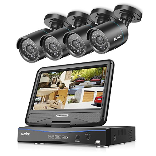 SANNCE 4CH 720P Video Monitoring System with 1080N 10.1'' LCD Combo DVR Recorder and (4) Surveillance Cameras Support P2P Technology, QR Code Scan Phone Remote Access Viewing -No HDD Combo Digital Video
