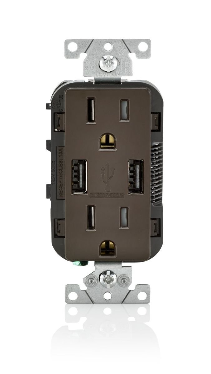 Leviton T5632-B 6 Pack 15 Amp Combination Duplex Decora Receptacle and USB Charger/Tamper Resistant, Brown