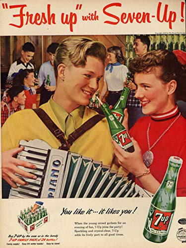 Fresh up with Seven-Up! Ad 1953 boy, girl accordion BHG